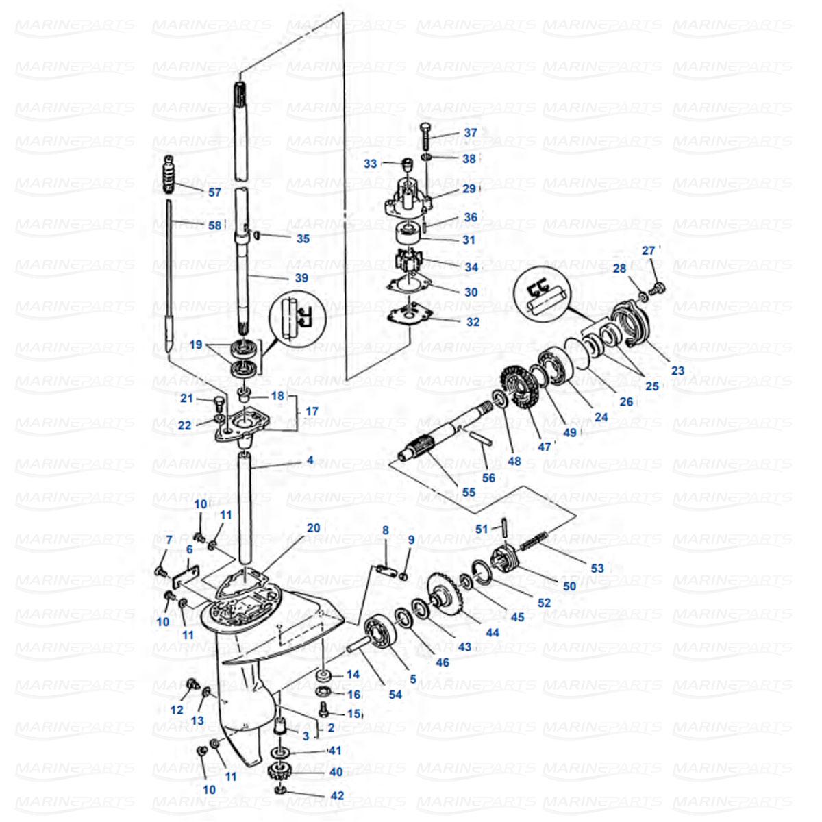Gearcase parts Yamaha E8D 2-stroke
