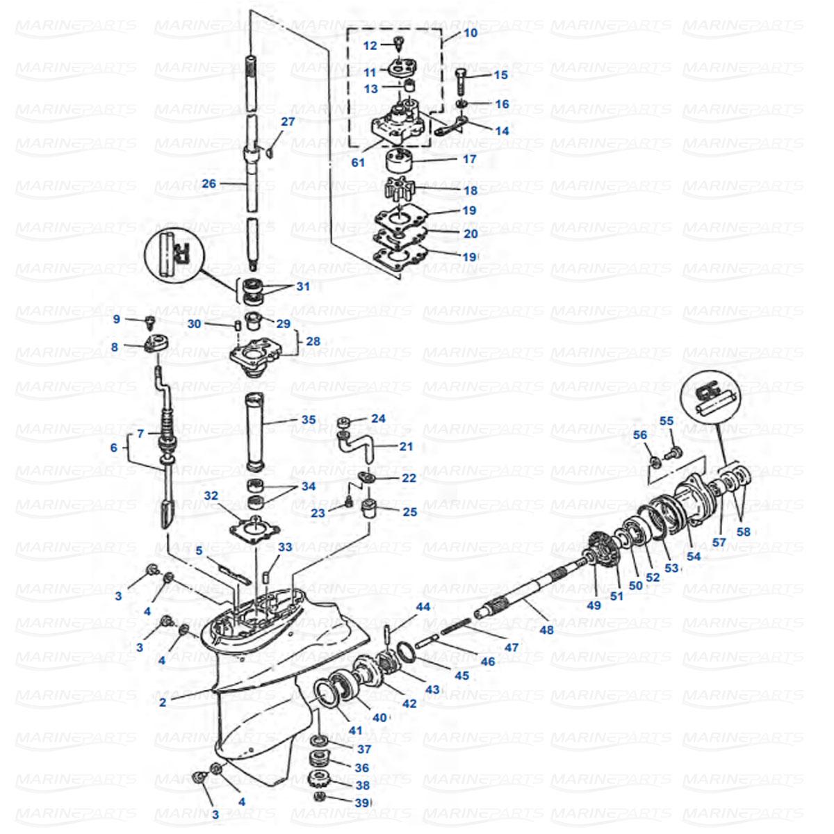 Gearcase parts Yamaha 9.9D, 15D