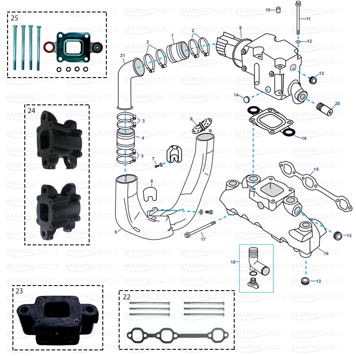 Exhaust parts for MerCruiser GM 4.3 ltr. V6 MPI