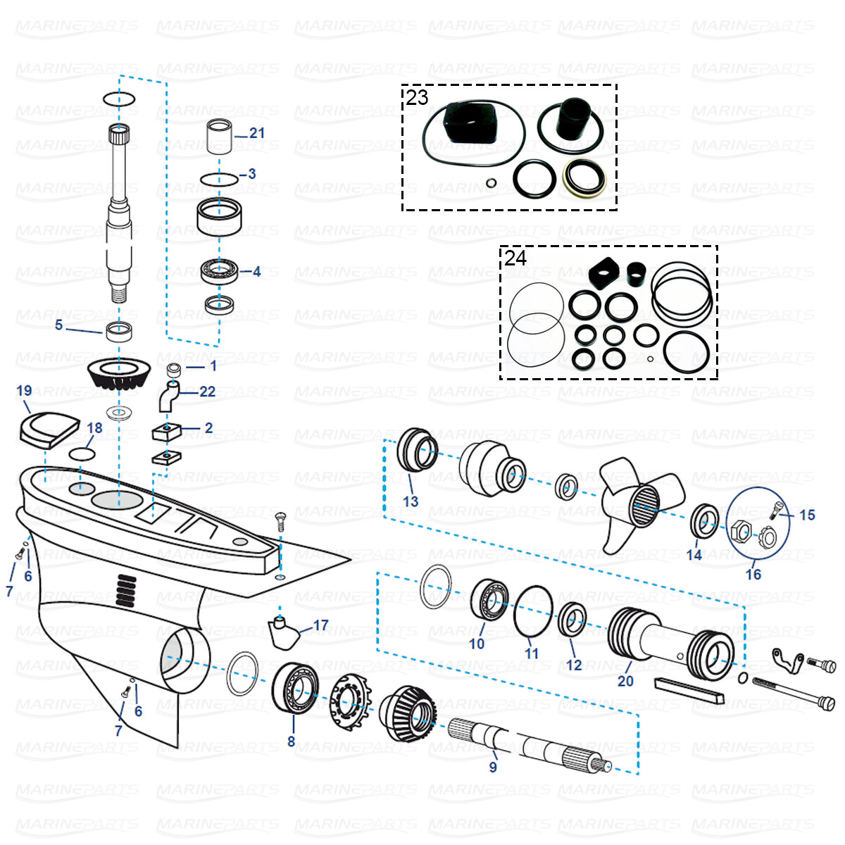 Spare parts lower gearcase for Volvo Penta SX