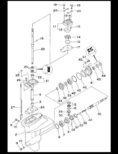 Växelhusdelar Yamaha 9.9F- 15FE - 9.9C - E15C