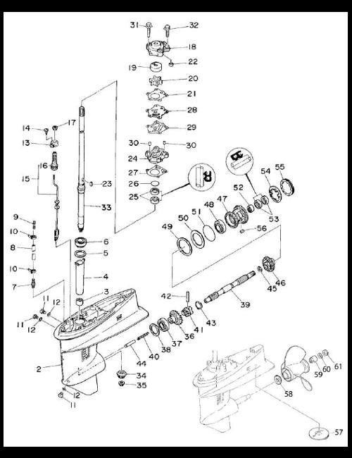 Växelhusdelar Yamaha 30DE - 30DMH