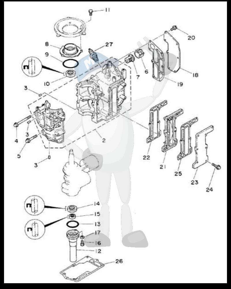 Moottorin sisäosia Yamaha 6C - 6D - 8D
