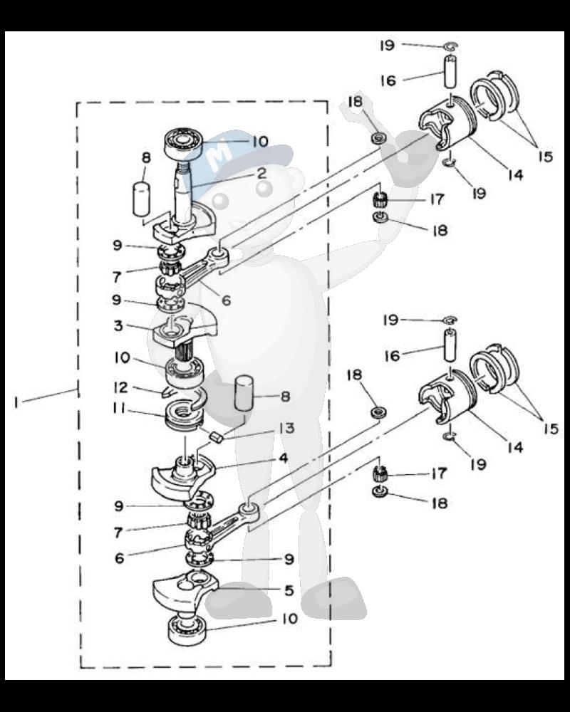 Moottorin sisäosia Yamaha E8D kuva 2