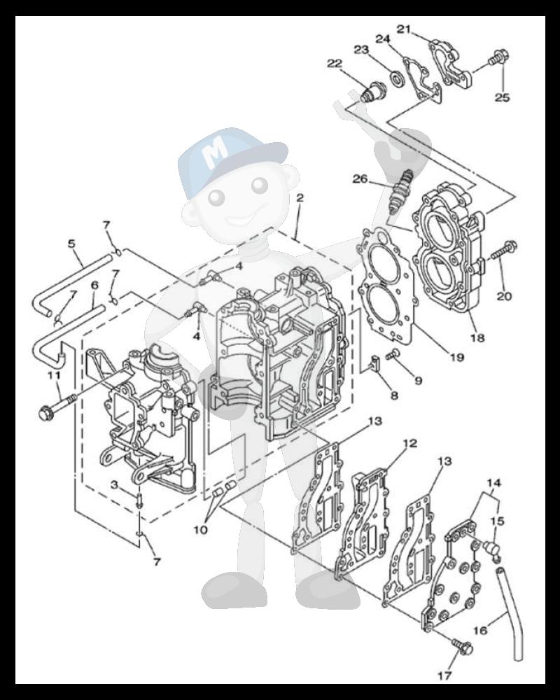 Moottorin sisäosia Yamaha 9.9F - 15F - E9.9C - E15C