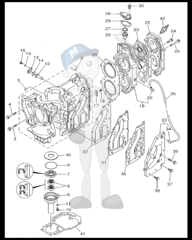 Moottorin sisäosia Yamaha 25MH - 30MH - 30W