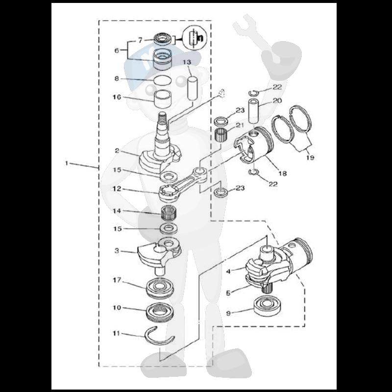 Moottorin sisäosia Yamaha 25MH - 30MH - 30W kuva 2
