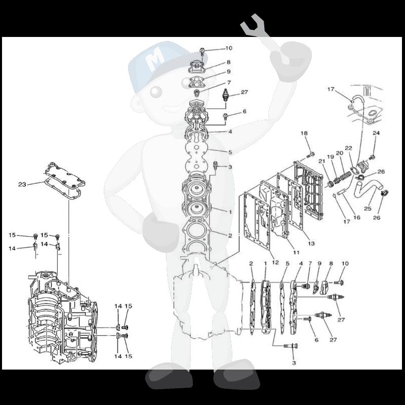 Moottorin sisäosia Yamaha 115C - 130B