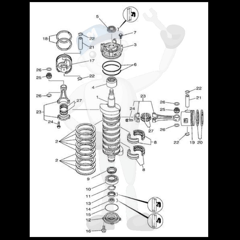 Moottorin sisäosia Yamaha 150 - 200 - L150 - L200 kuva 2