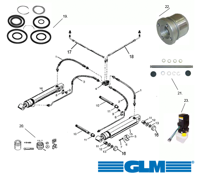 Spare parts powertrim Alpha One Gen. 2 (1991+)