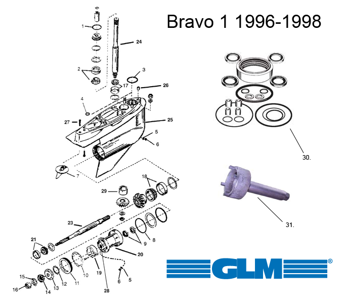Spare parts lower gearcase MerCruiser Bravo 1 (1996-1998)