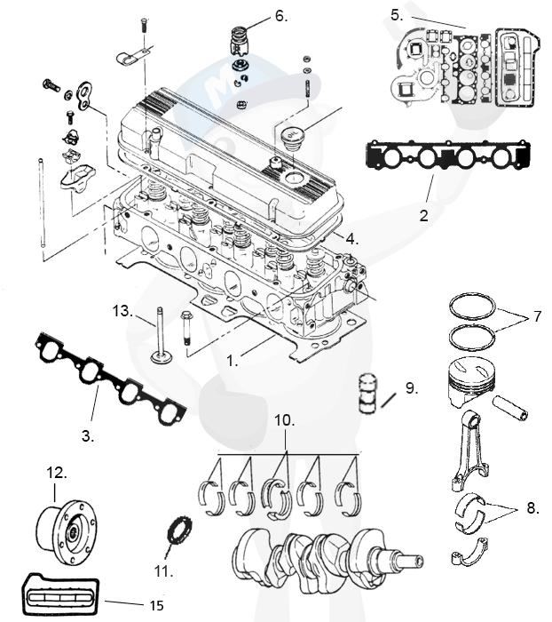 Reservdelar motorblock MerCruiser 4 cyl. 3.7 ltr.
