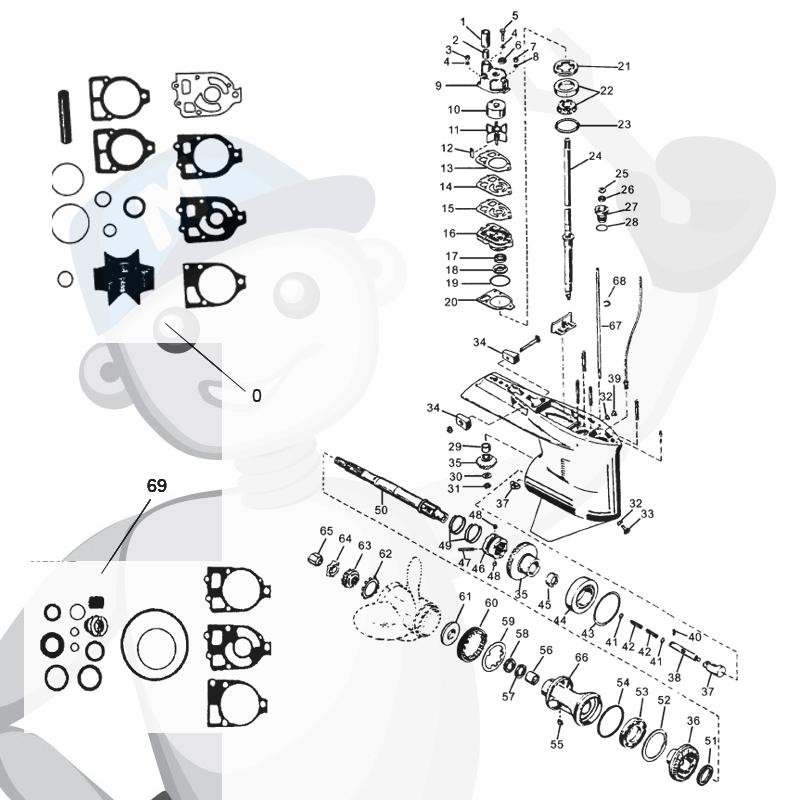 Gearcase parts Mercury/Mariner L4, L6 & V6 (65-225 hp)