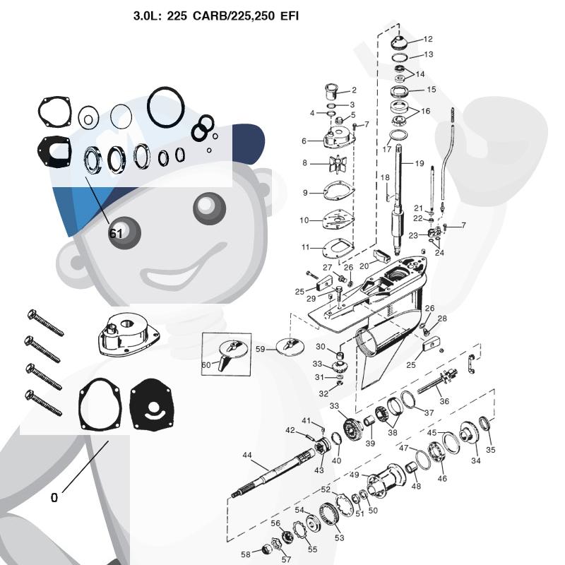 Gearcase parts Mercury/Mariner (3.0L) 225 hp CARB, 225 & 250 hp EFI