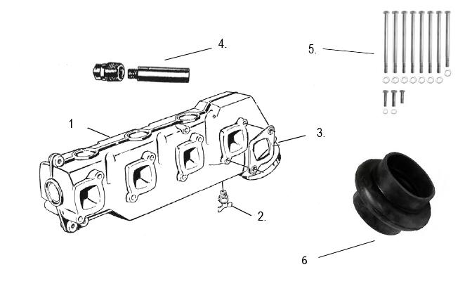Eksosdeler for Volvo Penta 4 syl. [AQ 120B, 125, 131, 140A, 145, 151, 230 & 250]