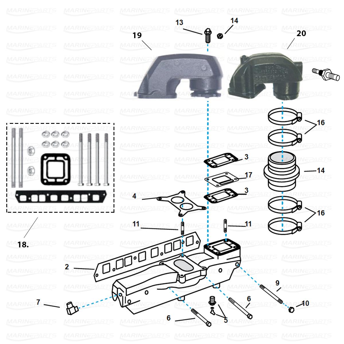 Udstødningsdele til Volvo Penta 4 cyl. 3,0 ltr. GM blok