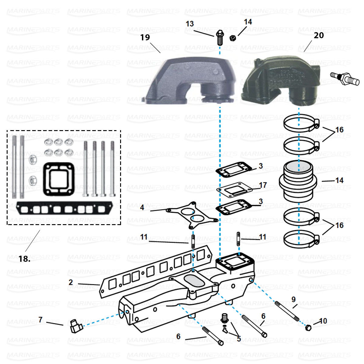Pakosarjan osia Volvo Pentoihin 4 cyl. 3.0 ltr. GM lohko