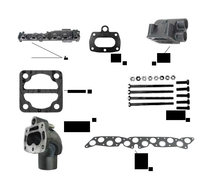 Avgasdelar för Volvo Penta rak 6 cyl. AQ165 & 170 B30