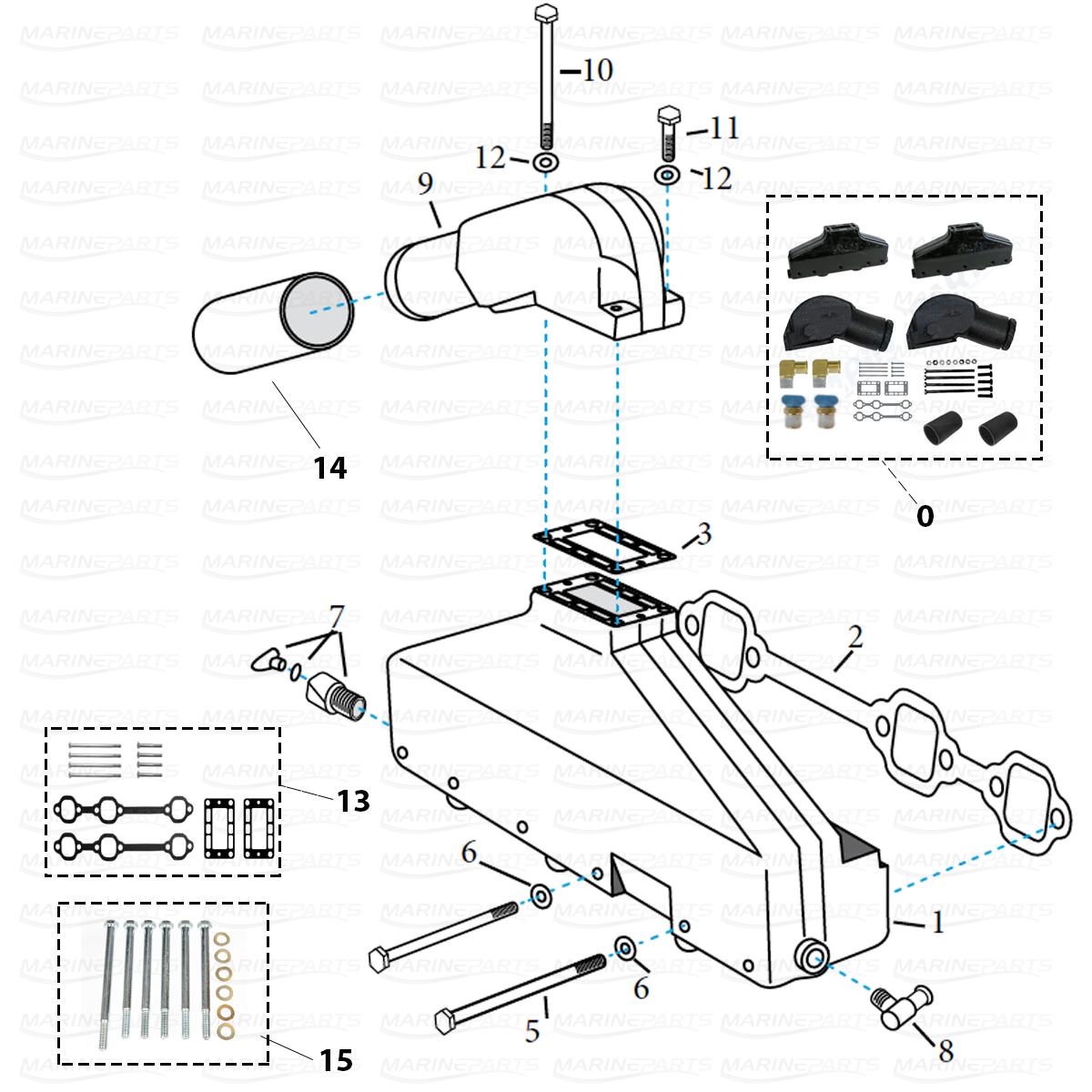 Avgasdelar för Volvo Penta V6 [AQ 175, AQ 205, AQ430 A/B, 431 A/B, AQ 434] FÖRE 1993