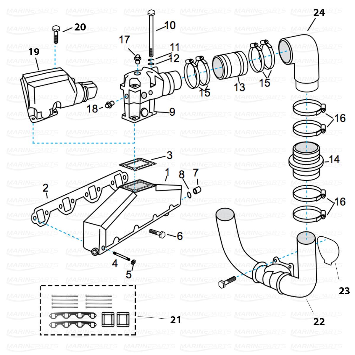 Udstødningsdele til Volvo Penta V8 [FORD V8 302/351] ÅR 1993+