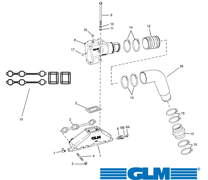 Exhaust parts for Volvo Penta V6 [4.3GXi/GL/GLP] 1992+
