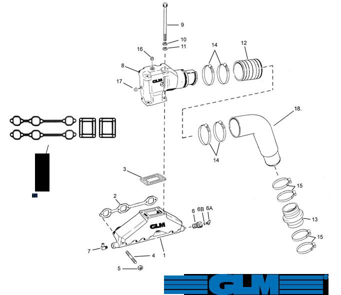 Avgasdelar för Volvo Penta V6 [4.3GXi/GL/GLP] 1992+