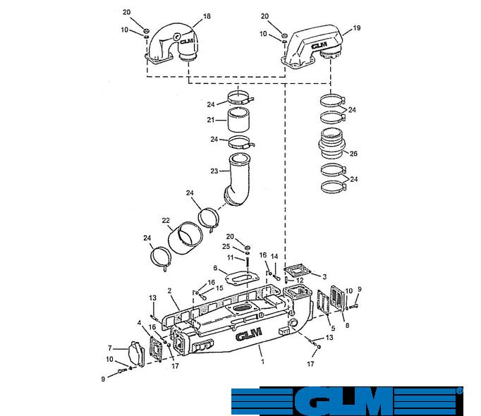 Avgasdelar OMC 4 cyl. 3.0 ltr. 140 hk (1973-1990)