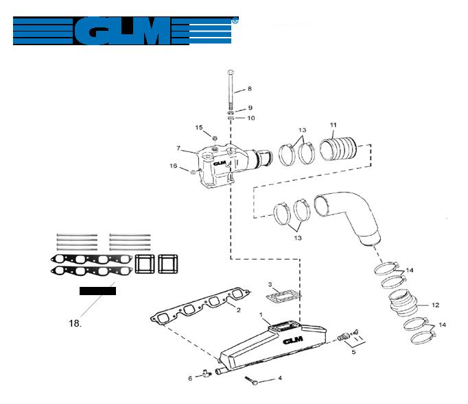 Pakosarjan osia OMC V8 [GM V8 454 isolohko] VM 1992+
