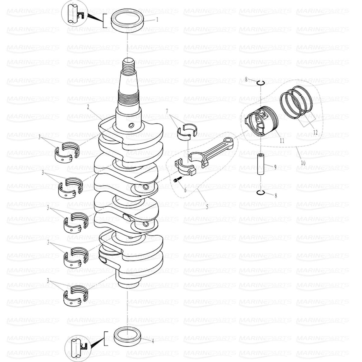 Crankshaft and piston