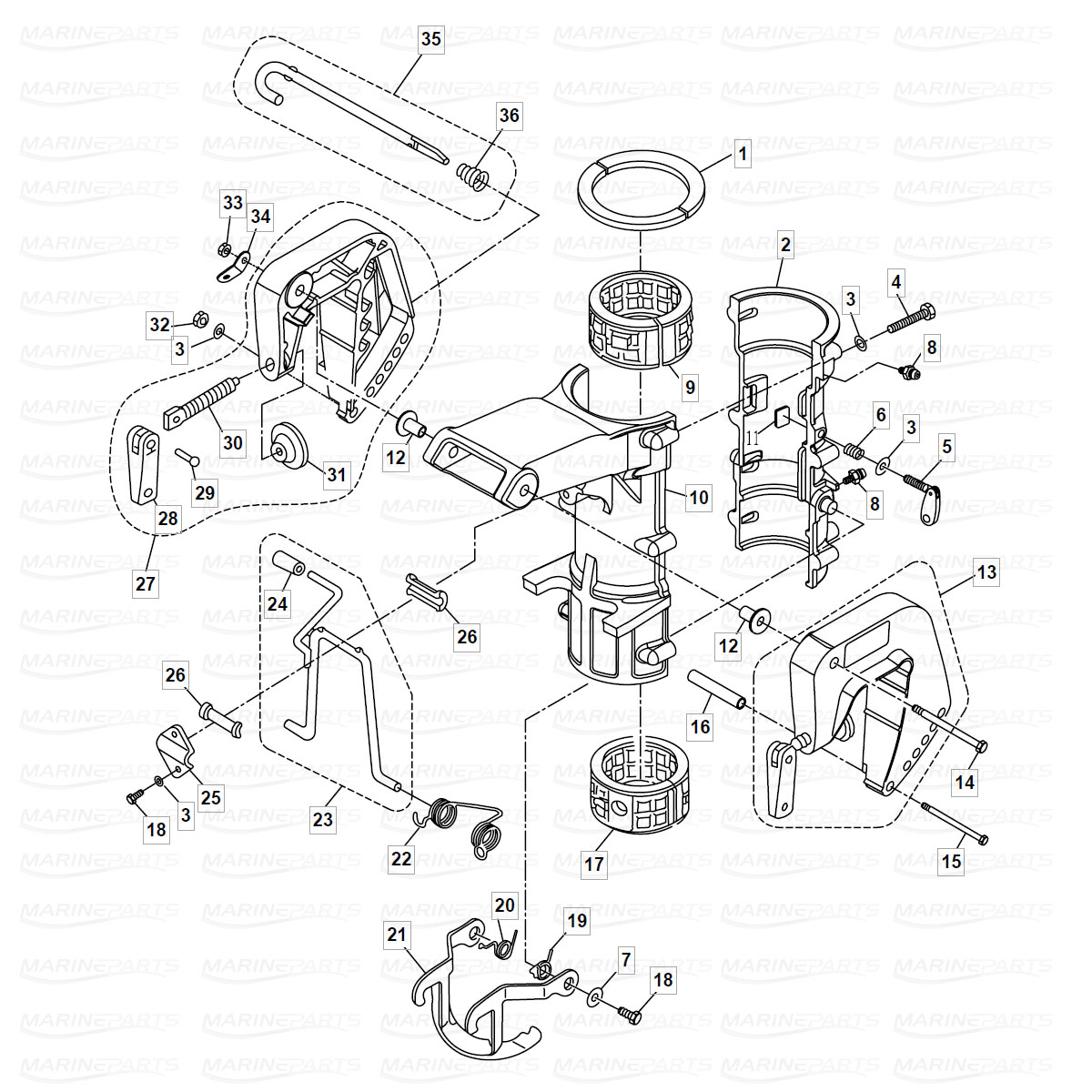 Exploded view mounting bracket and engine flag, Parsun 6 hp