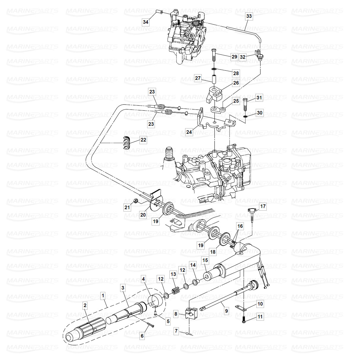 Exploded view handle  & steering, Parsun 6 hp