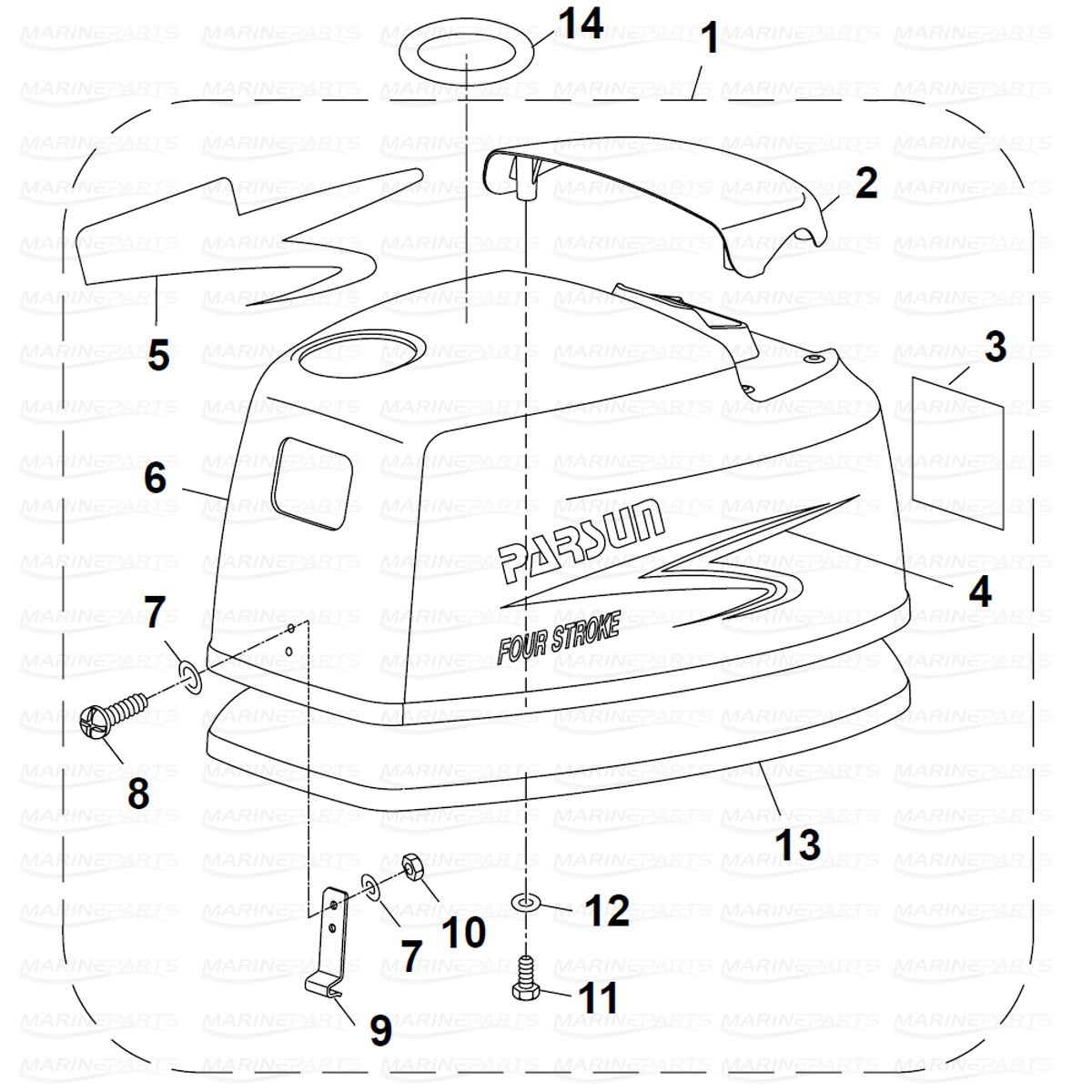 Exploded view engine cover, Parsun 6 hp