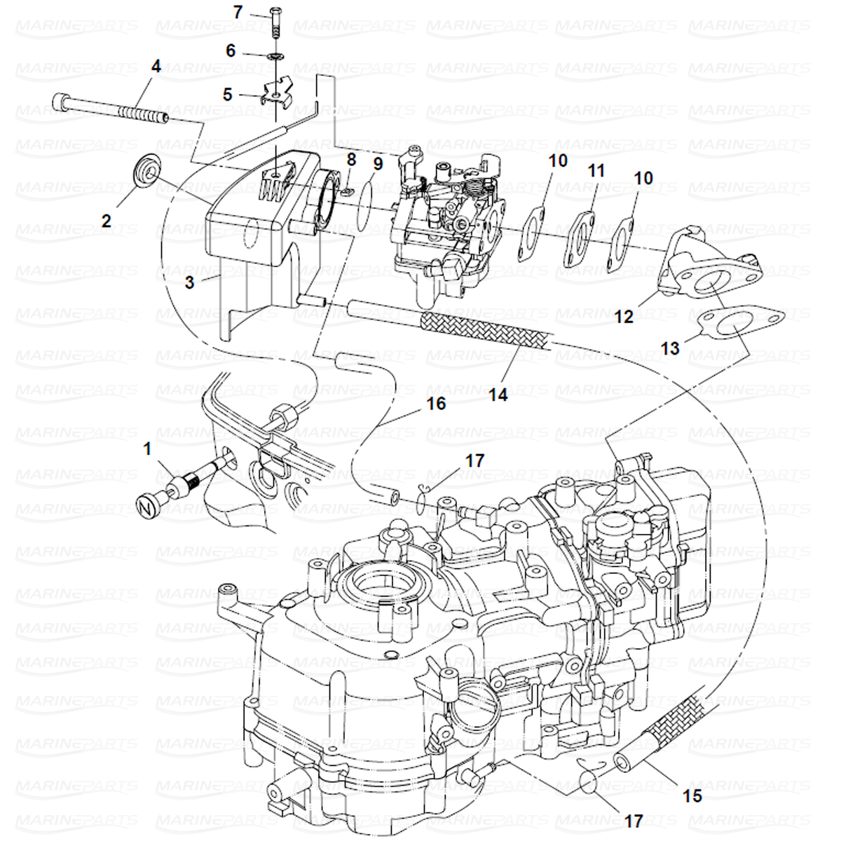 Exploded view intake, Parsun 6 hp