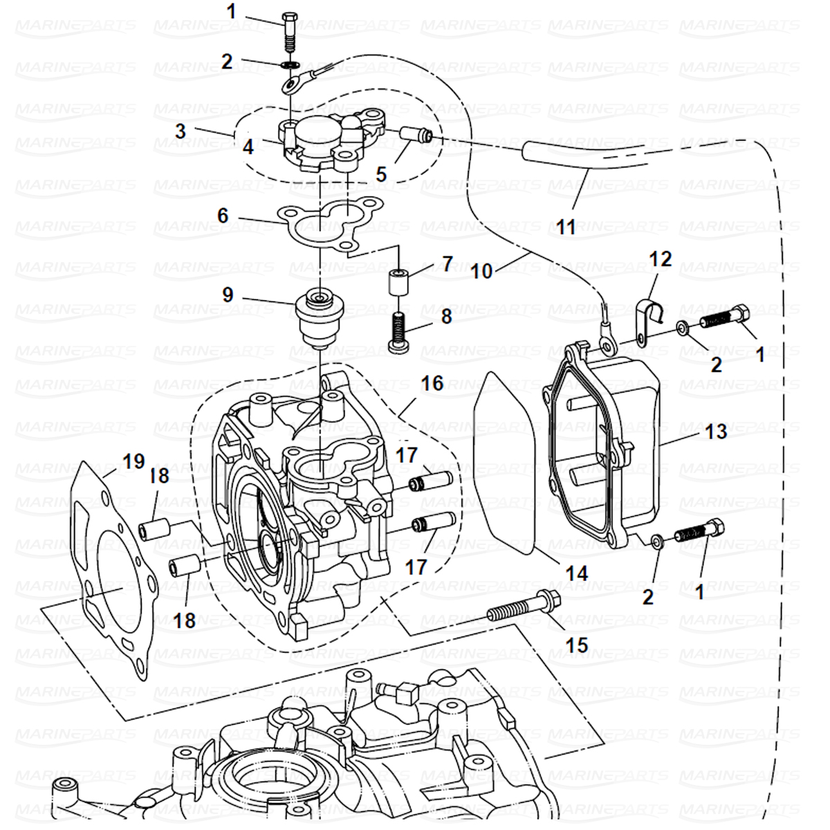 Exploded view cylinder head, Parsun 6 hp