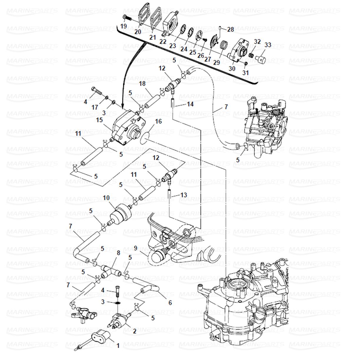 Sprängskiss bränslesystem, Parsun 6 hk