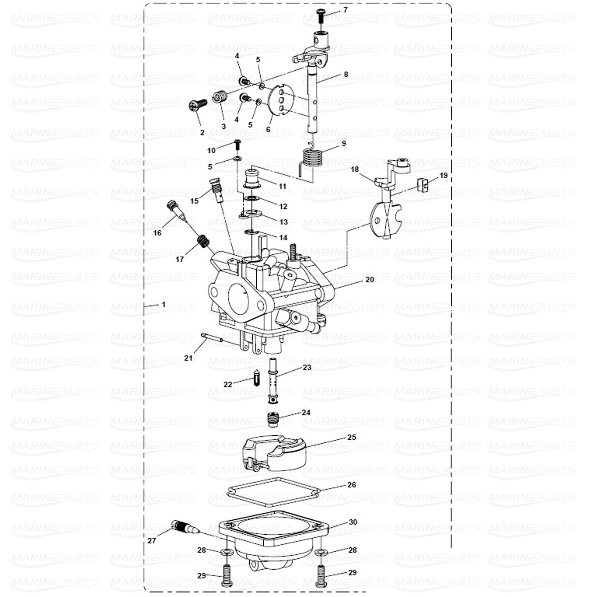 Exploded view carburetor, Parsun 6 hp
