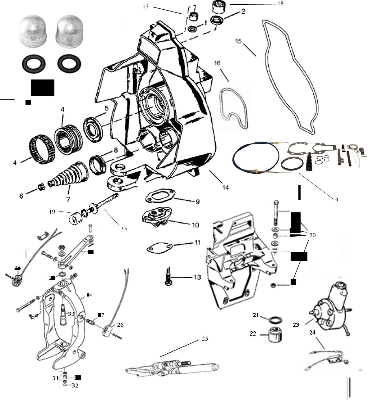 MerCruiser Alpha One Gen. 1 (1975-1990) skölddelar lista 2