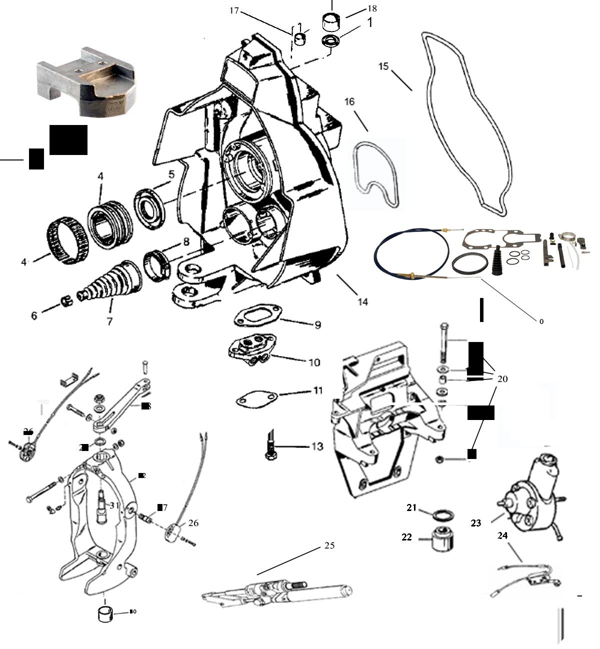 MerCruiser Alpha One Gen. 2 (1990+) skölddelar lista 2